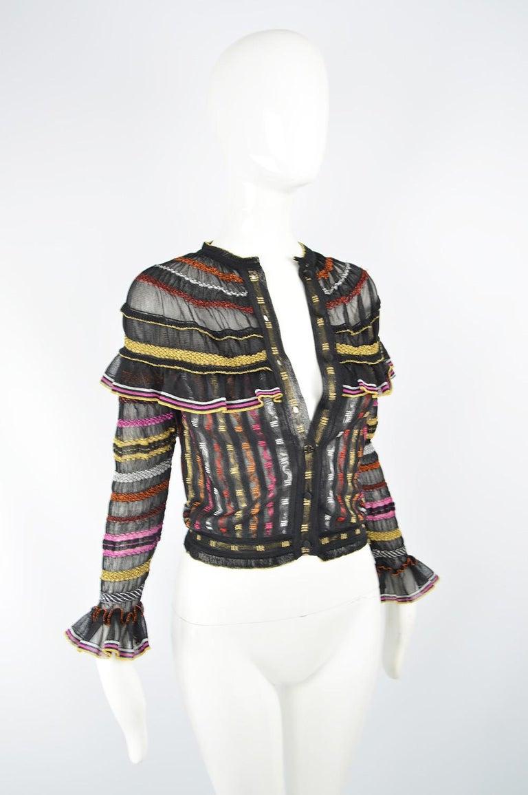 Women's Alexander McQueen Ruffled Knit Black & Multicolored Lame Jacket, Pre Fall 2018