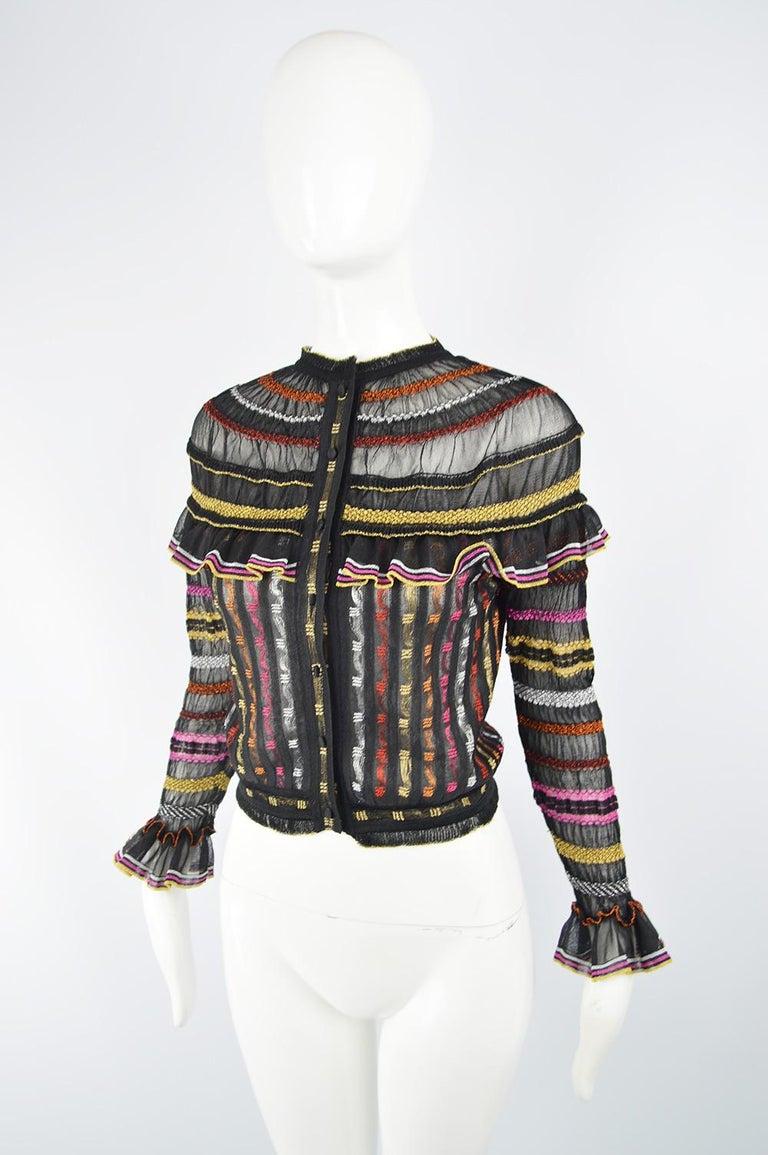 Alexander McQueen Ruffled Knit Black & Multicolored Lame Jacket, Pre Fall 2018 1