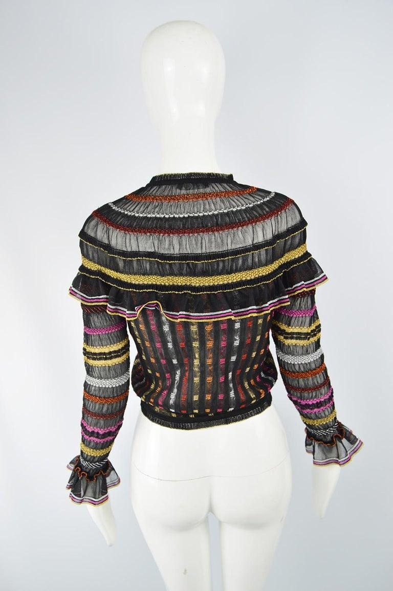 Alexander McQueen Ruffled Knit Black & Multicolored Lame Jacket, Pre Fall 2018 3