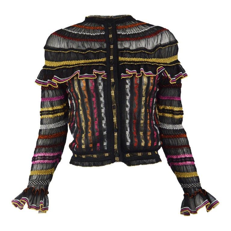 Alexander McQueen Ruffled Knit Black & Multicolored Lame Jacket, Pre Fall 2018