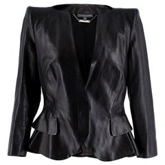 Alexander McQueen Ruffled Nappa Leather Jacket  42