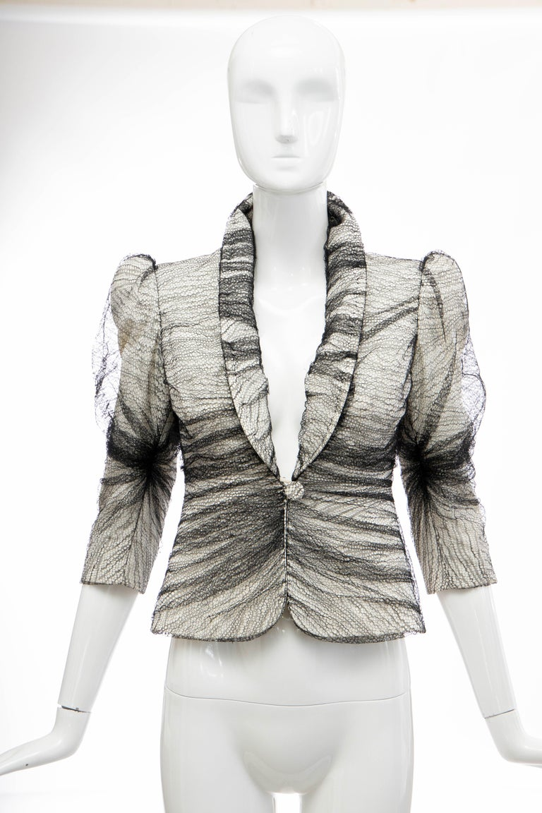 Alexander McQueen, Runway Spring-Summer 2007, Sarabande collection black tulle overlay button front and hook-and-eye closure, fully lined evening jacket.  IT. 38, US. 0   Bust: 27, Waist: 24, Shoulder: 13, Sleeve: 17, Length: 21