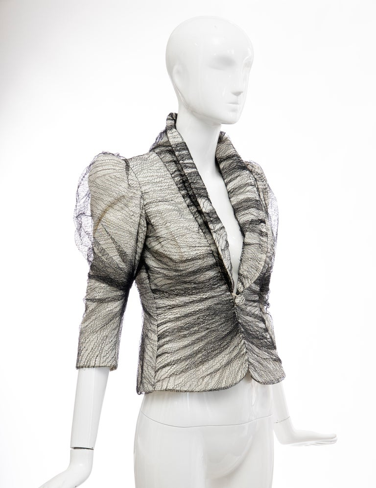 Alexander McQueen Runway Sarabande Collection Tulle Overlay Jacket, Spring 2007 In Excellent Condition For Sale In Cincinnati, OH