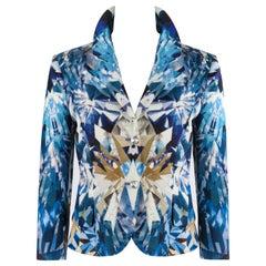ALEXANDER McQUEEN S/S '09 Natural Dis-tinction Blue Crystal Kaleidoscope Blazer