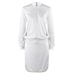"ALEXANDER McQUEEN S/S 2000 ""Eye"" 2pc White Herringbone Athletic Skirt Set NWT"