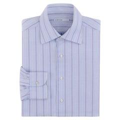 ALEXANDER McQUEEN S/S 1995 Striped Crosshatch Button Front Men's Dress Shirt