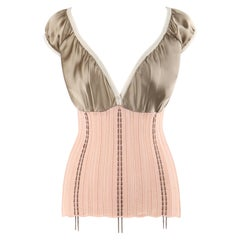"ALEXANDER McQUEEN S/S 1995 ""The Birds"" Pink Bronze Silk Satin Knit V Neck Top"