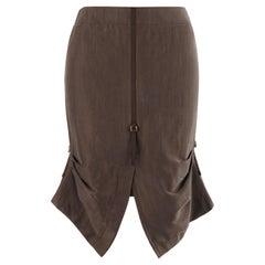 ALEXANDER McQUEEN S/S 1996 Brown Silk Horizontal Pleated Adjustable Pencil Skirt