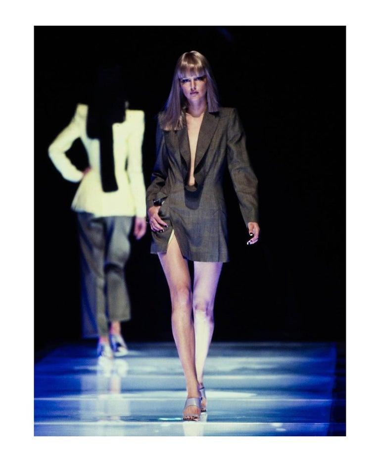 "Black ALEXANDER McQUEEN S/S 1998 ""Golden Shower"" Plunge Neck Micro Mini Tuxedo Dress For Sale"