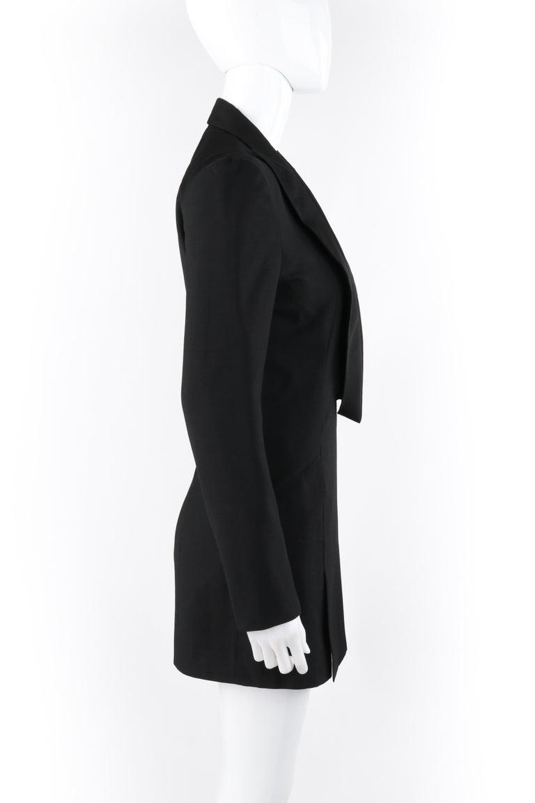 "ALEXANDER McQUEEN S/S 1998 ""Golden Shower"" Plunge Neck Micro Mini Tuxedo Dress In Good Condition For Sale In Thiensville, WI"