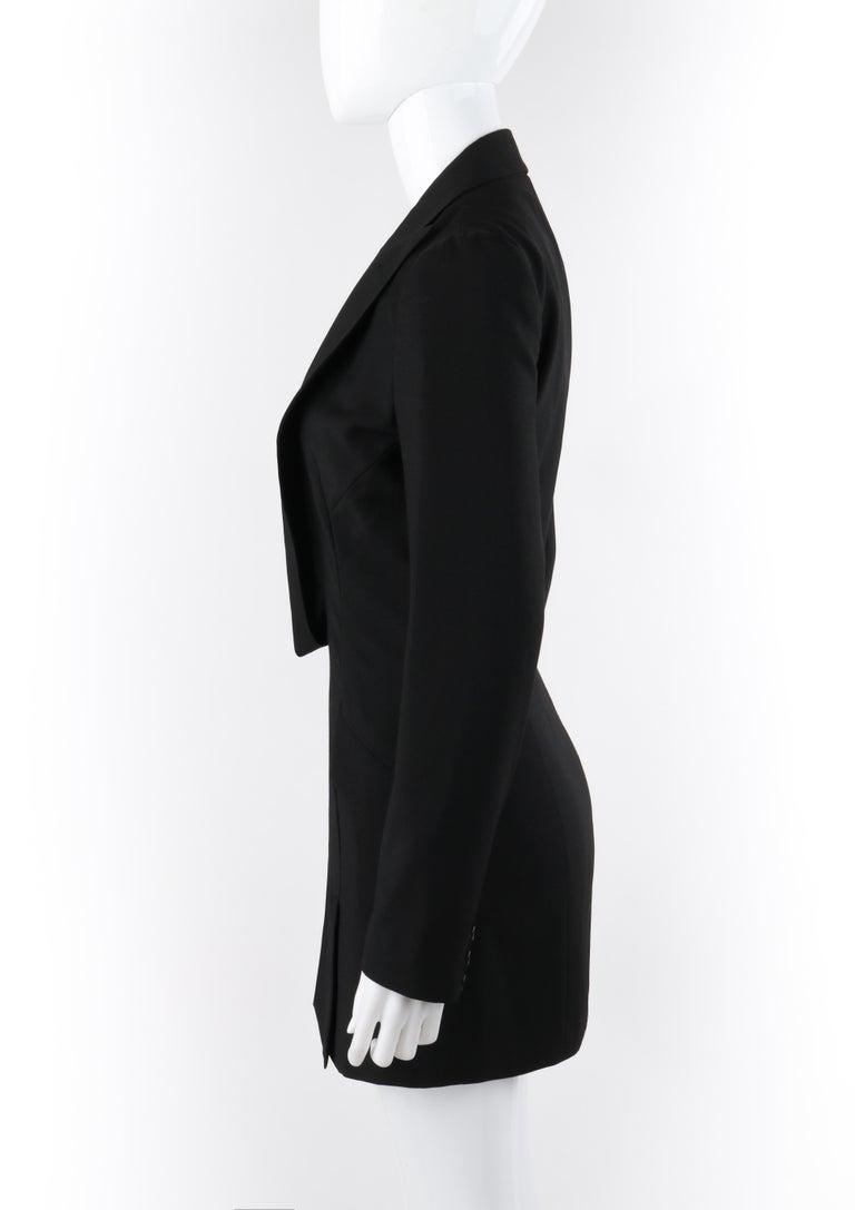 "ALEXANDER McQUEEN S/S 1998 ""Golden Shower"" Plunge Neck Micro Mini Tuxedo Dress For Sale 1"