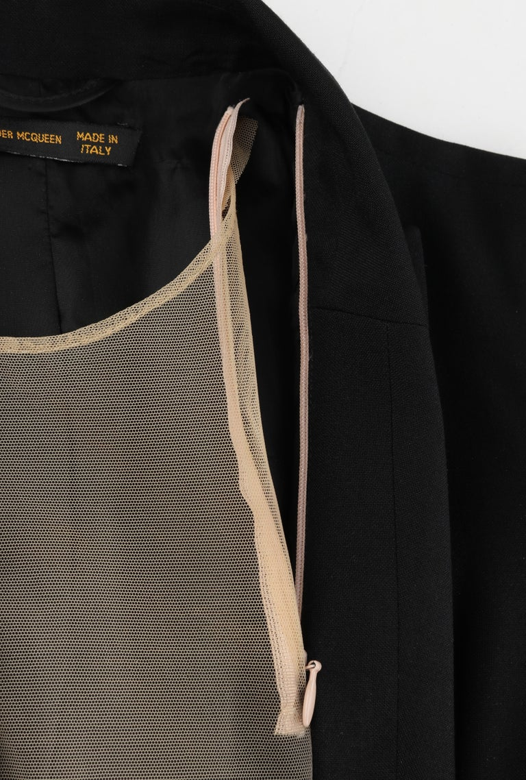 "ALEXANDER McQUEEN S/S 1998 ""Golden Shower"" Plunge Neck Micro Mini Tuxedo Dress For Sale 2"