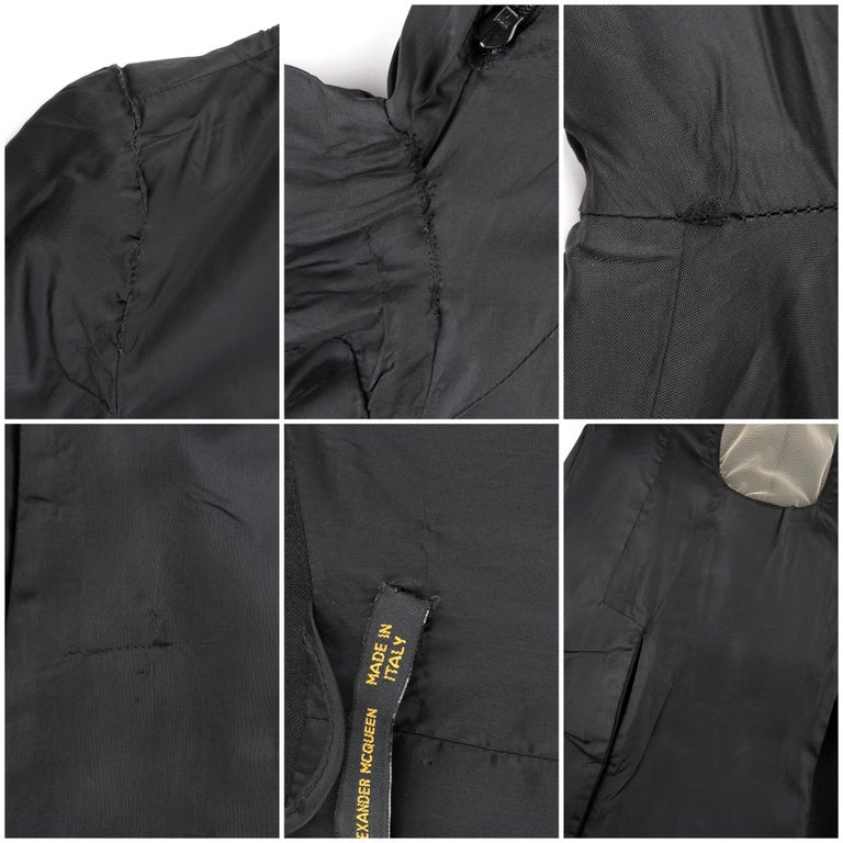 "ALEXANDER McQUEEN S/S 1998 ""Golden Shower"" Plunge Neck Micro Mini Tuxedo Dress For Sale 4"