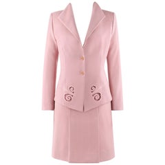 "ALEXANDER McQUEEN S/S 1999 ""No. 13"" 2 Pc Pink Cut Work Blazer Skirt Suit Set"