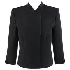 """ALEXANDER McQUEEN S/S 1999 """"No. 13"""" Black Extended Shoulder Blazer Jacket Sz 40"""