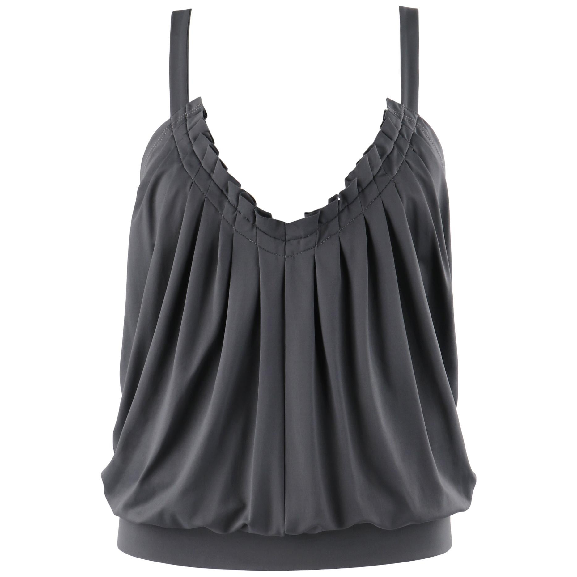 """ALEXANDER McQUEEN S/S 1999 """"No. 13"""" Gray Pleated Open Back Chain Strap Top"""