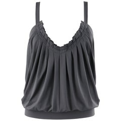 "ALEXANDER McQUEEN S/S 1999 ""No. 13"" Gray Pleated Open Back Chain Strap Top"