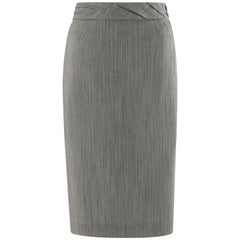 "ALEXANDER McQUEEN S/S 1999 ""No. 13"" Micro Striped Pleat Waistband Pencil Skirt"