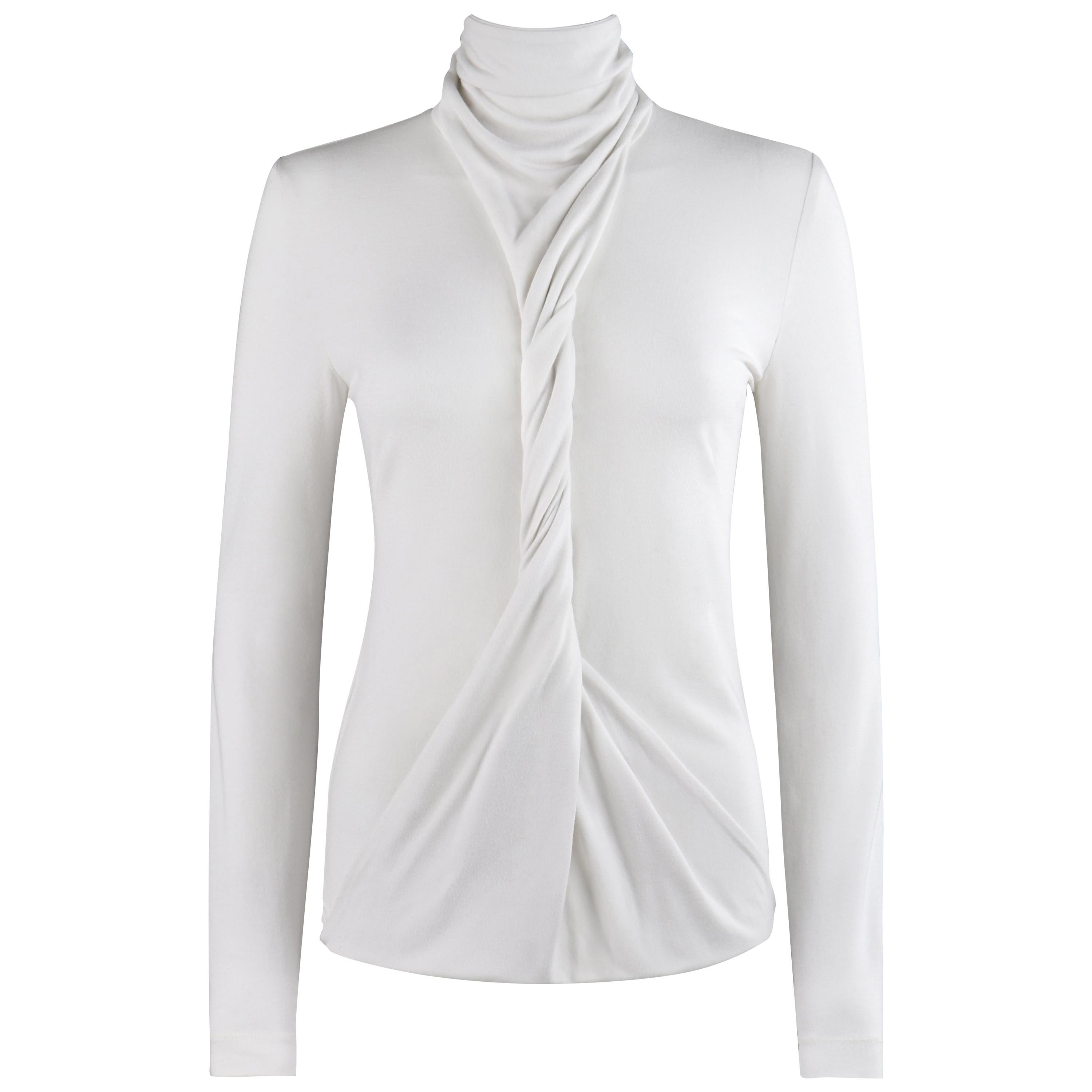 """ALEXANDER McQUEEN S/S 2000 """"Eye"""" White Convertible Twisted Front High Neck Top"""