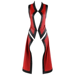 "ALEXANDER McQUEEN S/S 2000 ""Eyes"" Runway Red Black Leather Cut Out Vest Jacket"