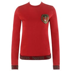ALEXANDER McQUEEN S/S 2000 Red Cyrillic Pegasus Emblem LS Pullover Sweater Top