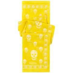 ALEXANDER McQUEEN S/S 2003 Classic Yellow White Skull Print Silk Square Scarf