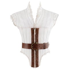 "ALEXANDER McQUEEN S/S 2003 ""Irere"" Leather Panel Slashed Tab Corset Vest Jacket"
