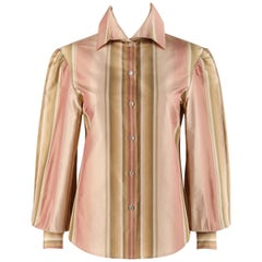 """ALEXANDER McQUEEN S/S 2003 """"Irere"""" Striped Bishop Sleeve Button Up Blouse Top"""