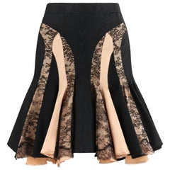ALEXANDER McQUEEN S/S 2004 Black Champagne Lace Flared High Low Trumpet Skirt
