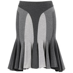 ALEXANDER McQUEEN S/S 2004 Grey Color-Block High Low Flared Trumpet Skirt