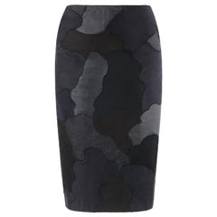 """ALEXANDER McQUEEN S/S 2005 """"It's Only A Game"""" Black Abstract Panel Pencil Skirt"""