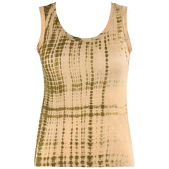 "ALEXANDER McQUEEN S/S 2005 ""It's Only A Game"" Tan Olive Tie Dye Print Tank Top"