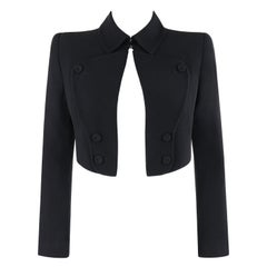 """ALEXANDER McQUEEN S/S 2006 """"Neptune"""" Black Fitted Open Front Cropped Jacket"""