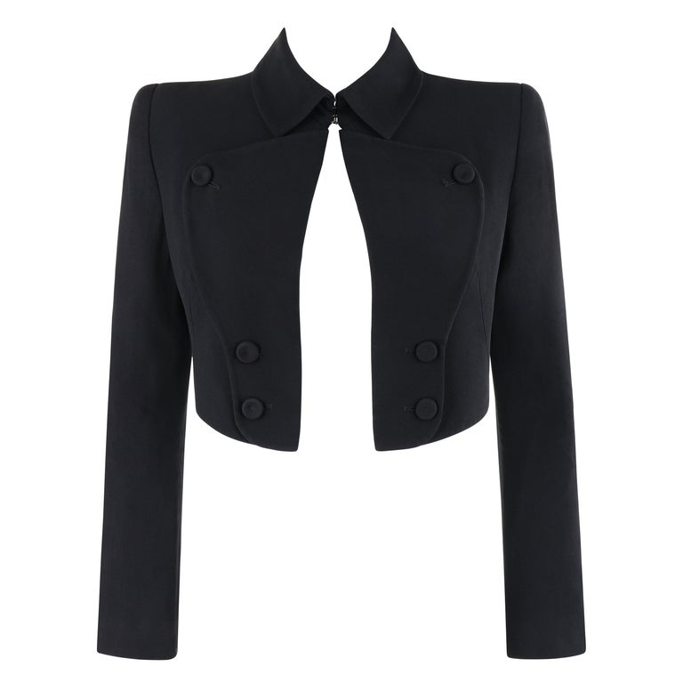 "ALEXANDER McQUEEN S/S 2006 ""Neptune"" Black Fitted Open Front Cropped Jacket For Sale"