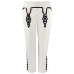 "ALEXANDER McQUEEN S/S 2007 ""Sarabande"" Off White Black Low Rise Jeans Pants"