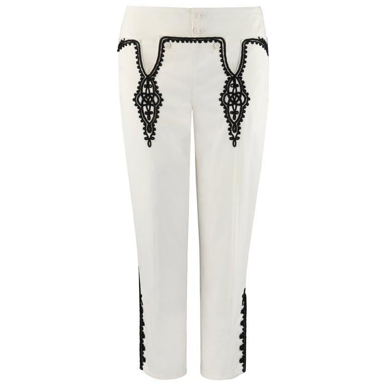 """ALEXANDER McQUEEN S/S 2007 """"Sarabande"""" Off White Black Low Rise Jeans Pants For Sale"""