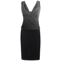 ALEXANDER McQUEEN S/S 2008 Black & White Polka Dot Plunge Neck Sheath Dress