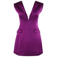 """ALEXANDER McQUEEN S/S 2008 """"La Dame Bleue"""" Purple Silk Fitted V Neck Mini Dress"""