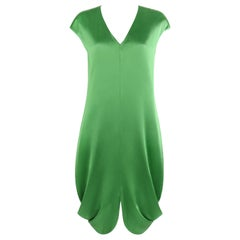 ALEXANDER McQUEEN S/S 2009 Green Silk Cap Sleeve Cowl Shift Dress NWT