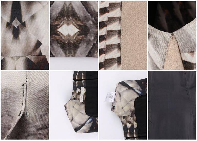 ALEXANDER McQUEEN S/S 2009 Iconic Runway Skeleton Kaleidoscope Print Dress 44  For Sale 5