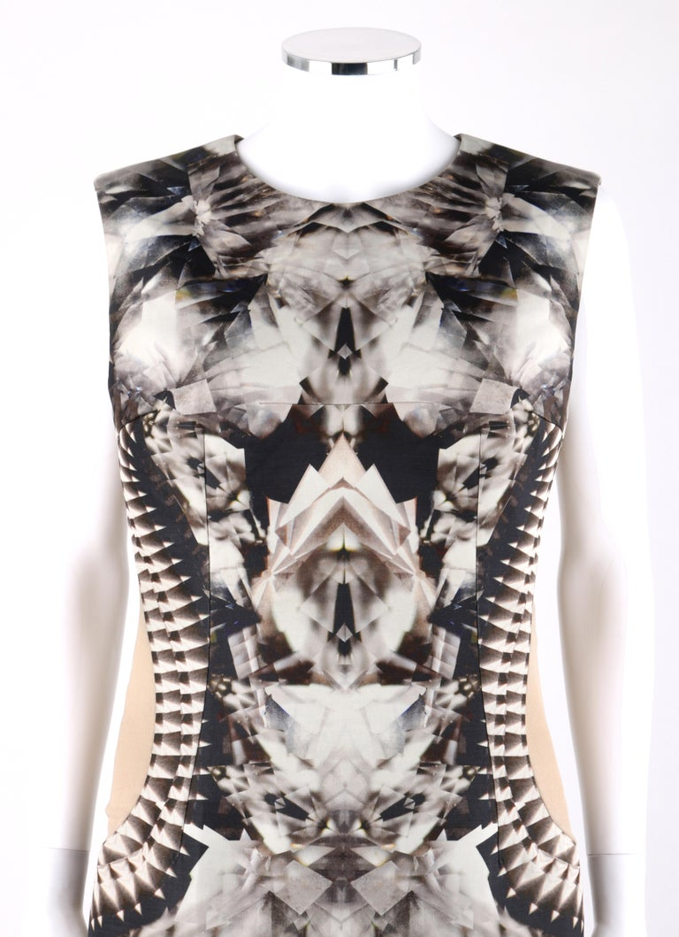 ALEXANDER McQUEEN S/S 2009 Iconic Skeleton Kaleidoscope Print Dress 44    Brand / Manufacturer: Alexander McQueen Collection: Spring/ Summer 2009  Style: Sheath dress Color(s): Shades of grey, black, off white, brown, tan and orange. Lined: Yes
