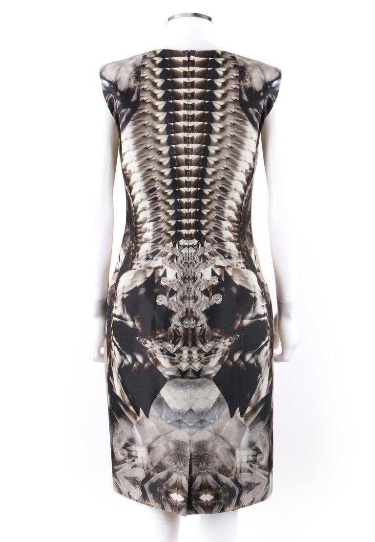 Women's ALEXANDER McQUEEN S/S 2009 Iconic Runway Skeleton Kaleidoscope Print Dress 44  For Sale