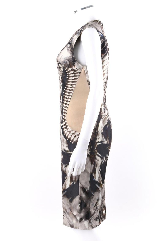 ALEXANDER McQUEEN S/S 2009 Iconic Runway Skeleton Kaleidoscope Print Dress 44  For Sale 1