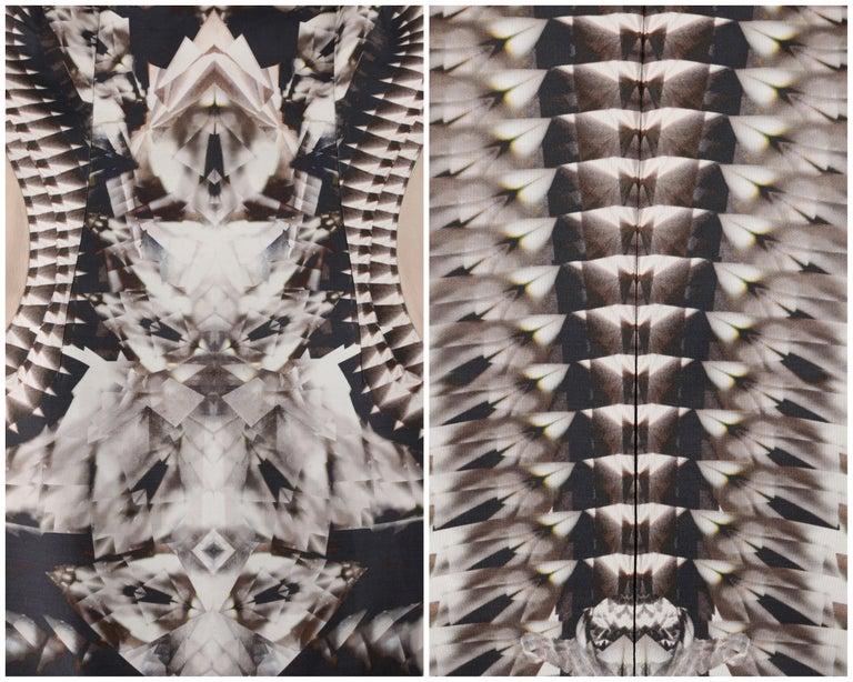 ALEXANDER McQUEEN S/S 2009 Iconic Runway Skeleton Kaleidoscope Print Dress 44  For Sale 2