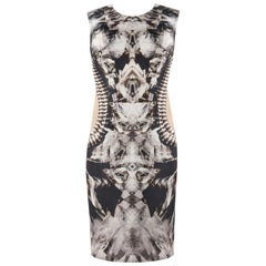 ALEXANDER McQUEEN S/S 2009 Iconic Runway Skeleton Kaleidoscope Print Dress 44