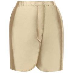ALEXANDER McQUEEN S/S 2009 Resort Gold Metallic Button Up Tulip Wrap Skirt NWT