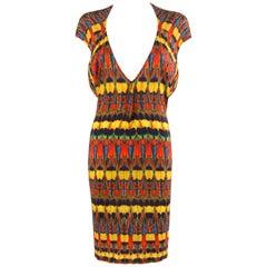 ALEXANDER McQUEEN S/S 2010 Multi-color Kaleidoscope Jersey Knit Dress