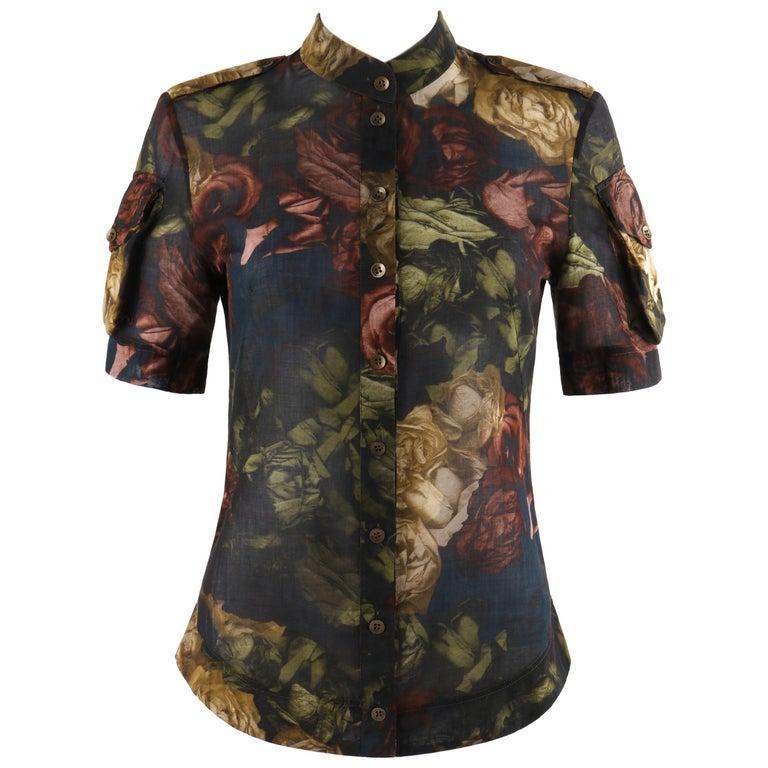 "ALEXANDER McQUEEN S/S 2010  ""Plato's Atlantis"" Floral Silk Button Front Blouse For Sale"