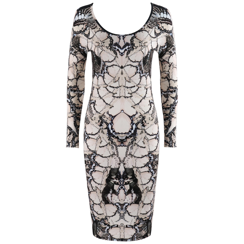 ALEXANDER McQUEEN S/S 2011 Black White Cream Butterfly Print Knit Sheath Dress