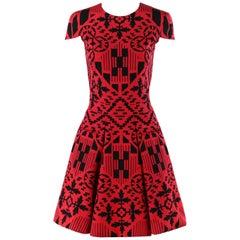 ALEXANDER McQUEEN S/S 2014 Red Black Mosaic Shape Print Fit N Flare Skater Dress